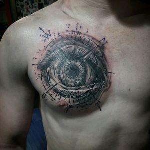 #tattooing #tattoo #work #blackandgreytattoo #realistictattoo #eye #eyetattoo #compasstattoo #tattoodesign