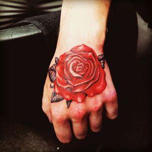 Red rose #adventuretattoos #adventuretattoo #keighley #tattoo #inkedadventure #redtattoo #redrose #redrosetattoo #rosetattoo #rose #hand #handtattoo