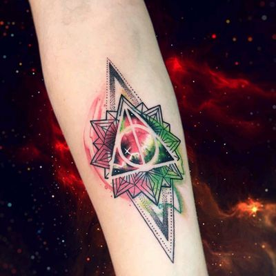 By #AdrianBascur #watercolor #space #galaxy #harrypotter #star #triangle