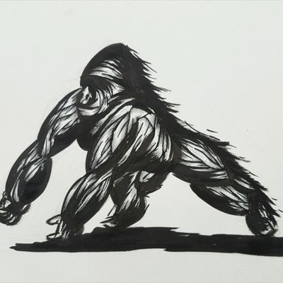 GORILLA design. Wild lines . #sketch #sketching #art #africa #gorilla #tattoo #draw #fineliner #penart #pliksh #graphics #artoftheday #artrealm