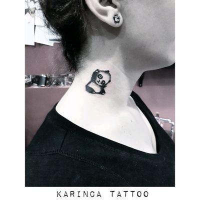 Panda 🐼 Instagram: @karincatattoo #panda #pandatattoo #necktattoo #minimaltattoo #smalltattoo #minimalism #little #cute #istanbul #womantattoo #tattooidea #small