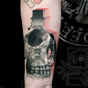 #ChrisRigoni #Surrealism #Gentleman #Skull #Doubleexposure #BlackandGrey