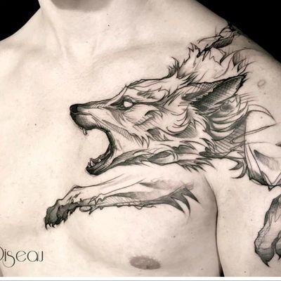 By #loiseautattoo #wolf #sketchtattoo #blackwork #graphic #wolftattoo