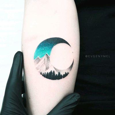 By #evgenymel #landscape #moon #mountains #forest #crescentmoon #landscapetattoo