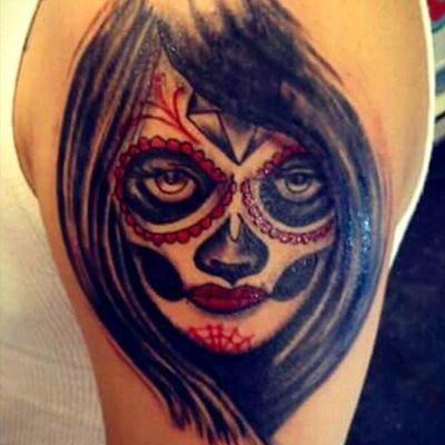 Day if the dead pin up by Baz #oldschool#inked#boldwillhold#eastvillage#tattooideas#newtattoo#newyorkcity#customdesign#tattooedforlife#cleanandbold#fullcolor#dayofthedead#skull#blackandgray