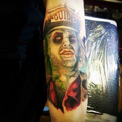 Love my new tattoo by @Al_WHEELER #beetlejuice #armtattoo