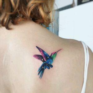 By #AdrianBascur #watercolor #bird #stars #watercolortattoo #hummingbird