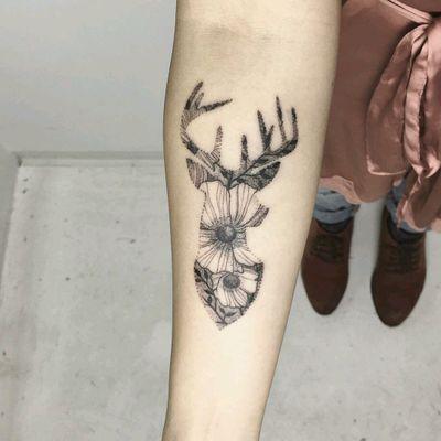 By #Iosep #deer #flowers #doubleexposure #stag #blackwork