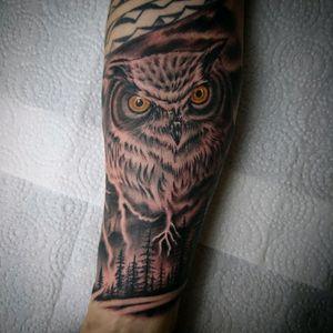 The Owl in the storm done Whit kaco Tattoo machine vorace. #blackandgreytattoo #blackandgrey #animaltattoo #animaltattoos