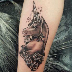 #unicorn #blackandgrey tattoo by #amzkelso of #berserktattoos ! #crystal #cute #kawaii #tattooedunicorn #magical