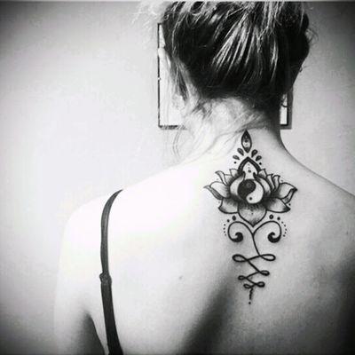 ☯#lotus #unalome #tao #yingyang #lotustattoo #girly #girlytattoo