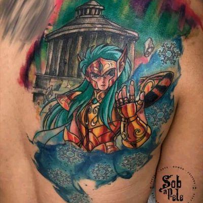 Amazing anime tattoo by @johnneedle #shiryu #cavaleirosdozodiaco #zodiac #colorida #colorful #comics #tatuadoresdobrasil #JohnNeedle