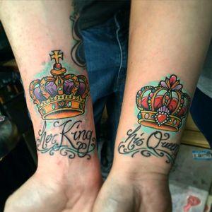Coupled tattoo #couple #coupletattoo #couplestattoo #coupletattoos #herkinghisqueen #crowns #cartoonstyle #glasgow #glasgowtattoo #scotland #scotlandtattoo #scottish