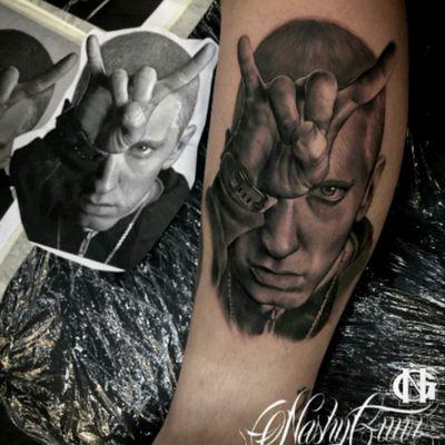 #NashyGunz #Portrait #Realism #BlackandGrey #Eminem #SlimShady #Rap #HipHop