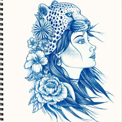 Original Lady with a Cheetah Headress, all ready, booked in and good to go. #sketch #tattoo #sketchbook #drawing #headdress #lady #flowers