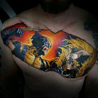 Comics tattoo by @Klebyz #wolverine #comics #quadrinhos #xmen #colorida #colorful #nerd #marvel #tatuadoresdobrasil #KlebyzSoares