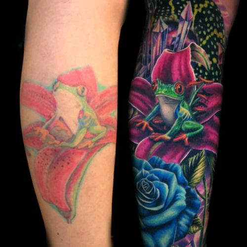 Cover up by Jamie Schene. #coverup #cobertura #sapo #frog #colorida #colorful #JamieSchene