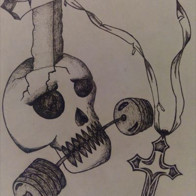 First skull I have ever drew. Dont judge me so much, was inspired by Rio Olympic games, with thoughts in my mind: 'Life, hobbie, religion'. #skull #cross #sports #sword #blackAndWhite