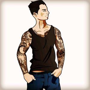 I'm a cartoon! #cartoon #hero #tattoomodel #model #ink #tattoo #likeforlike #followforfollow