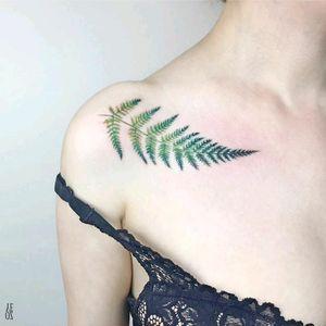 By #YelizÖzcan #watercolor #fern #watercolortattoo #botanical #leaves