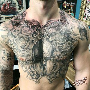 More on that mad chest piece, Greek mythology themed #greekmythology #greekgod #pegasus #pegasustattoo #greek #greekstyle #zeus #zeustattoo #medusa #medusahead #spartanhelmettattoo #spartan #glasgow #glasgowtattoo #scotland #scotlandtattoo #scotlandtattooartist #chest #chesttattoo #chestpiece #bigtattoo #bigart