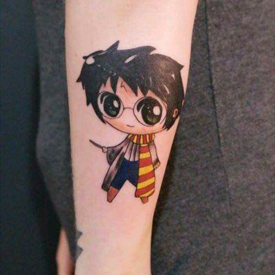 Mini Harry Potter by Gabi Vitorino #HarryPotter #nerd #caricature #mini #movies #geek #colorida #colorful #TatuadorasDoBrasil #GabiVitorino