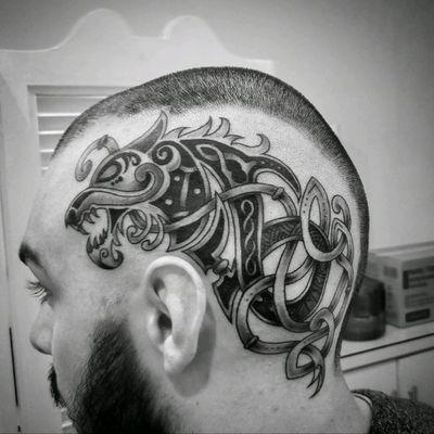 #tattoo #headtattoo #viking #vikingtattoo #blackngrey #fenrir #norsemythology #norse