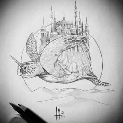 #tattoodesign #fantasy #turtle #castle #unicorn #tattoo #blackandgray #design #draw #sketch #boceto #diseño #colombiaink #surrealism #Colombiatattoo #Cartagena