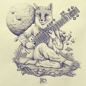 #tattoodesing #graphictattoodesign #pointillism #dropshadow #fox #music #musical #musician #sitar #moon #surrealismtattoos #surreal #draw #design #sketch #colombia #colombiantattoo