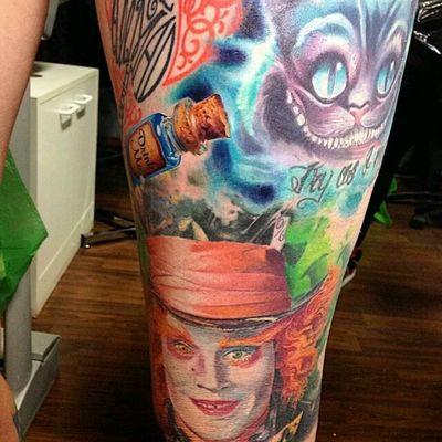 Tim Burton half leg sleeve #TimBurton #aliceinwonderland #madhatter #cheshirecat # drink me