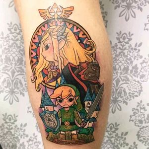 #link #tloz #mexicantattooartist #zelda #ganandorf #Nintendo #awesome #colorful #triforce #inked #videogames finally got my awesome tattoo