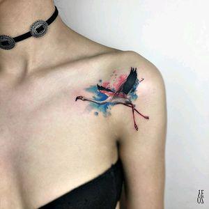 By #YelizÖzcan #watercolor #crane #bird #flight #watercolortattoo