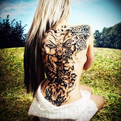 #back #gun #TattooGirl #flowers #face