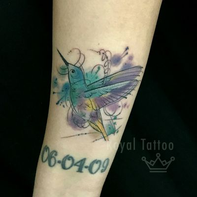 Water color humming bird by @taiobatattoo For info or bookings pls contact us at art@royaltattoo.com or call us at +45 49202770 #royal #royaltattoo #royaltattoodk #royalink #royaltattoodenmark #watertattoo #watercolortattoo #watercolor #watercolour #hummingbird #bird #birdtattoo