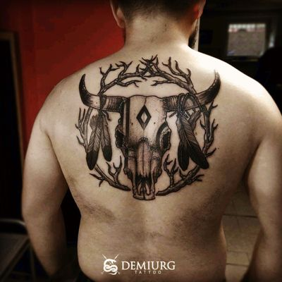 #indian #skull #skulltattoo #buffalo #BuffaloTattoo