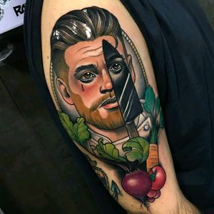 Neo trad by Debora Cherrys #tattoodo #TattoodoApp #tattoodoBR #neotrad #neotraditional #faca #knife #chef #cozinha #kitchen #vegetais #vegetables #colorida #colorful #DeboraCherrys