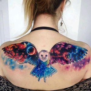 Owl by Adrian Bascur #tattoodo #TattoodoApp #tattoodoBR #coruja #owl #universo #universe #aquarela #watercolor #colorida #colorful #planetas #planets #AdrianBascur