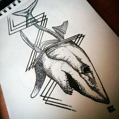 SharkMako #dotwork #linework #drawing #shark