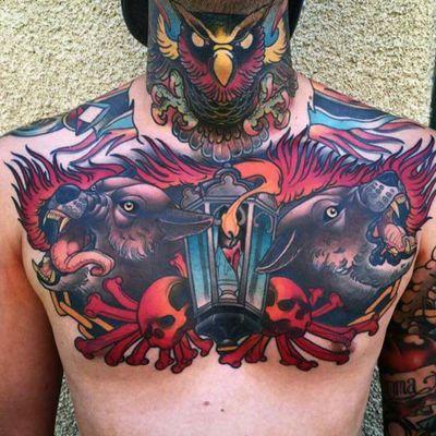 Jacob Daniel Wiman #tattoodo #TattoodoApp #tattoodoBR #lobo #wolf #coruja #owl #vela #candle #colorida #colorful #neotrad #neotraditional #JacobDanielWiman