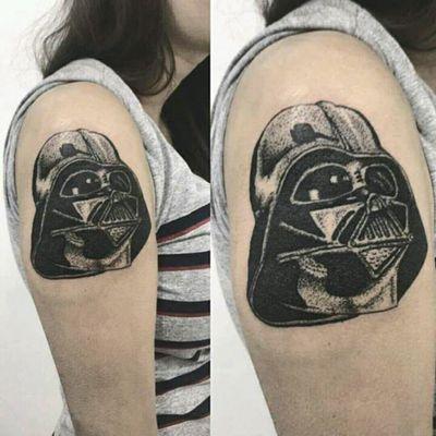 Darth Vader Dotwork Tattoo #dotwork #dotworktattoo #darthvader #darthvadertattoo #starwars #starwarstattoo #starwarsfan