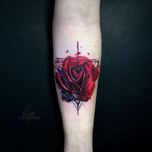By #VladTokmenin #rose #flower #rosetattoo #color