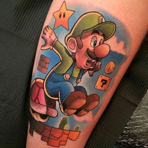 Luigi by Dane Grannon #tattoodo #TattoodoApp #tattoodoBR #luigi #nintendo #gamer #geek #nerd #videogame #estrela #star #DaneGrannon