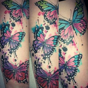 Tattoo by Angie Fletcher @CorazonTattoos, Wirral #watercolor #watercolortattoo #Butterflies #butterfliestattoo #colorful #beautiful