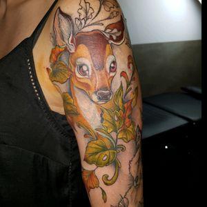 #tattoo #tattoos #neotraditonal #fawn #deer #forest #neotraditionaltattoo