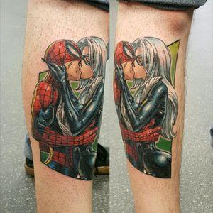 #spiderman #spidermantattoo #ComicBookTattoo #blackcat #marvel #marveltattoo #comicbook #newschooltattoo #colourtattoo