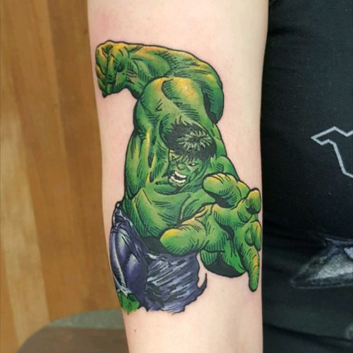#hulk #hulktattoo #TheIncredibleHulk #colourtattoo #newschooltattoo #marvel #marveltattoo #comicbook #comicbooktattoo