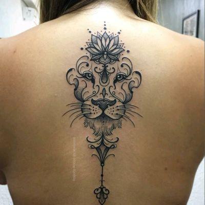 By #cabeloooo #lion #lotus #flower #liontattoo