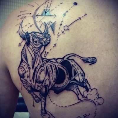#Zodiac, #Taurus, #Archery, #constellation, #dotwork, #blackwork, #arrow