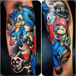 Gamer #gamer #gamergirl #videogames #mariobros #supermario #Nintendo #nintendotattoo #joystick #character #color