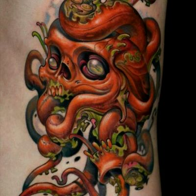 #octopus this is a new school tattoo of octopus ans skeleton in color ... i love this ...